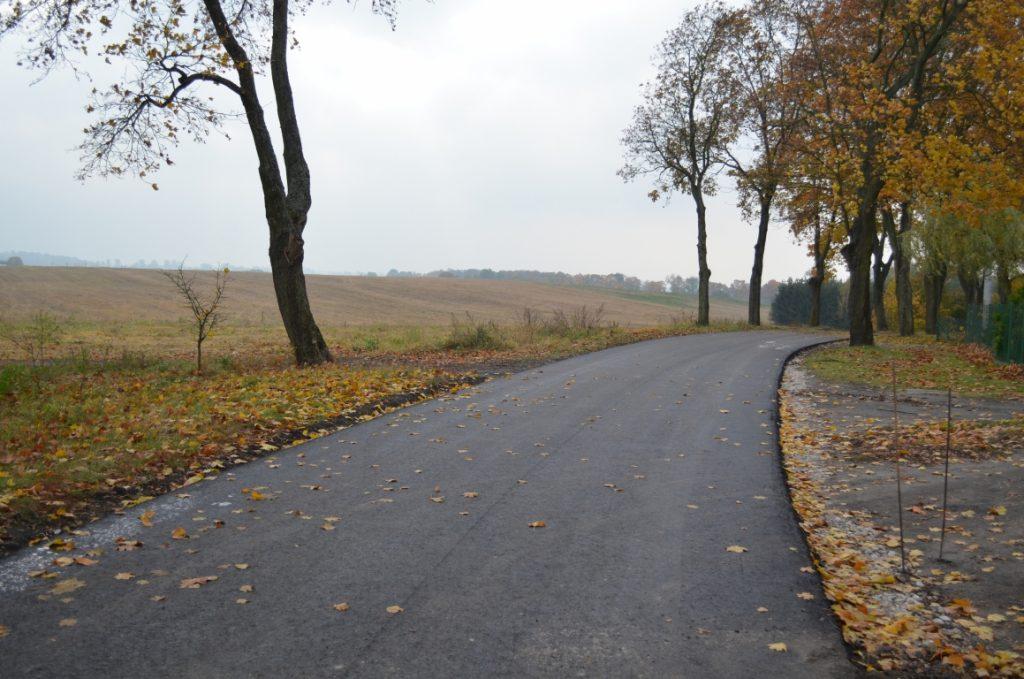 Nowa nawierzchnia bitumiczna na drodze Lalkowy - Smętówko. W tle pola uprawne