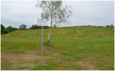 Rekultywowane składowisko odpadów. Nasyp porośnięty trawą i niską roślinnością