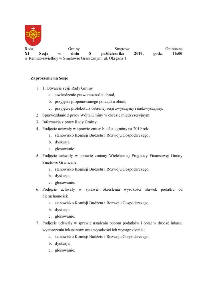 Rada Gminy Smętowo Graniczne zaprasza na XI zwyczajną sesję w dniu 8 października 2019 na godzinę 16:00 do Remizo-świetlicy w Smętowie Granicznym, ul. Okrężna 1