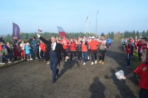 Uczestnicy biegu na lini startu