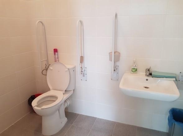 Toaleta dla osób niepełnosprawnych z uchwytami zamontowanymi na ścianie