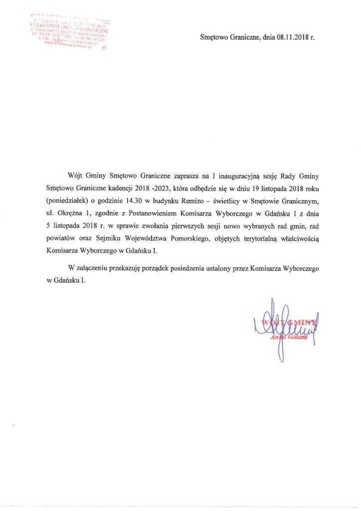 Wójt Gminy Smętowo Graniczne zaprasza na I inauguracyjną sesję w dniu 19 listopada 2018 na godzinę 14:30 do Remizo-świetlicy w Smętowie Granicznym, ul. Okrężna 1