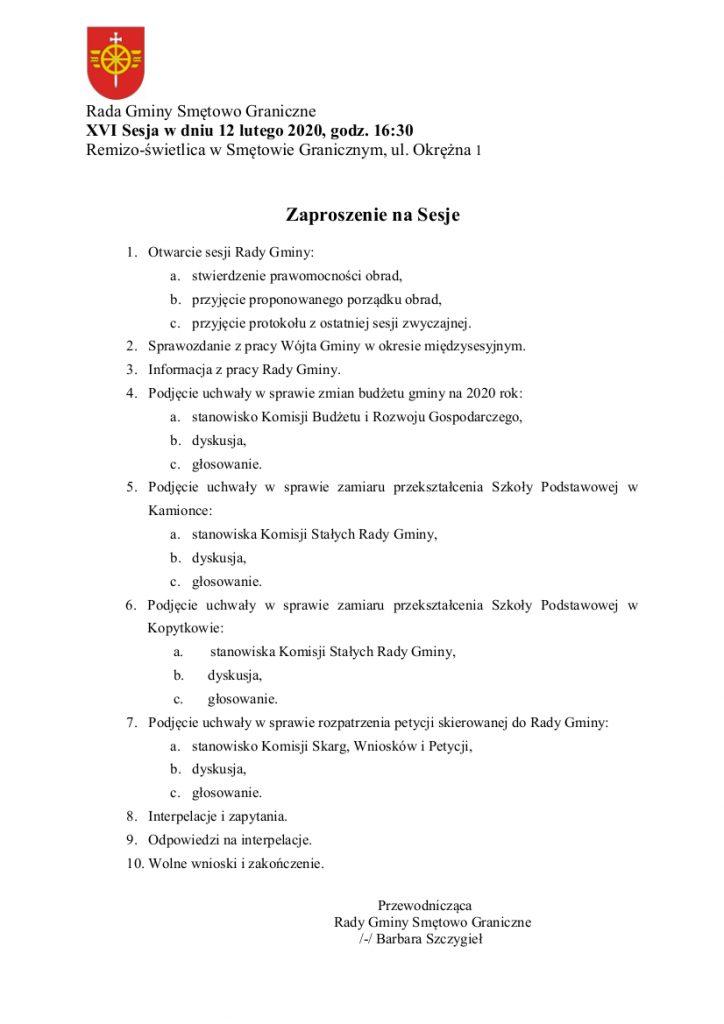 Rada Gminy Smętowo Graniczne zaprasza na XVI zwyczajną sesję w dniu 12 lutego 2020 na godzinę 16:30 do Remizo-świetlicy w Smętowie Granicznym, ul. Okrężna 1